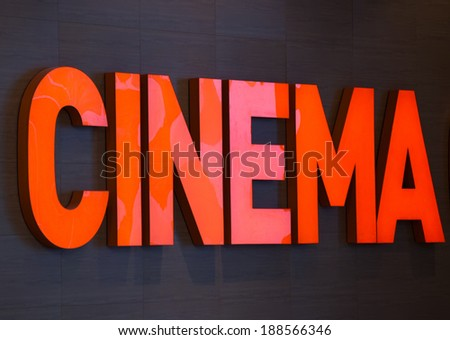 cinema text on wall in modern building