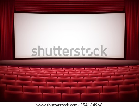 cinema theater horizontal background with red seats and red curtains. JPG version - stock photo