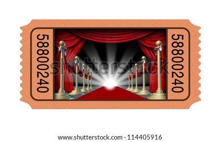 Cinema ticket and movie stub with an open window into a theater on a red carpet and velvet curtains with brass partitions leading to a glowing spot light as an entertainment concept on white. - stock photo