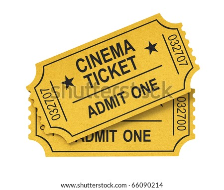 Cinema ticket on white background - stock photo