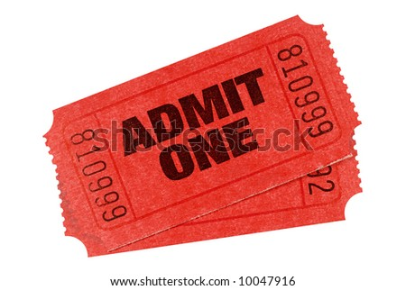Cinema ticket : two red admit one movie tickets isolated on a white background.   - stock photo