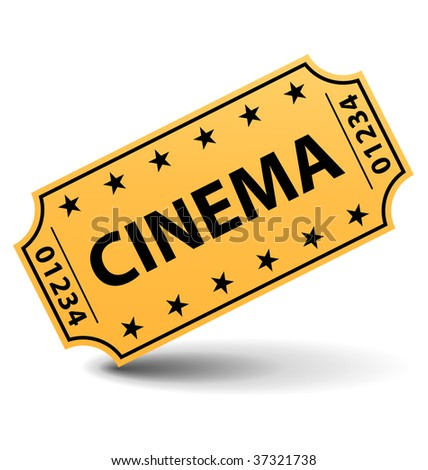 Cinema ticket with shadow. - stock photo