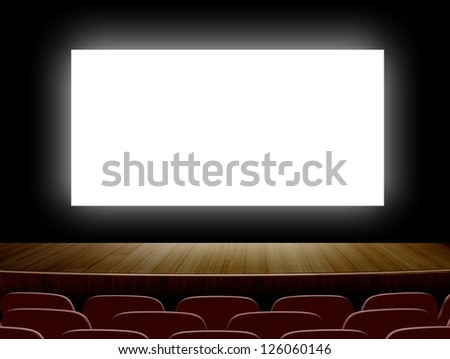 Cinema with white screen and seats - stock photo