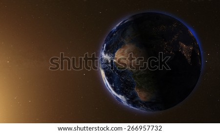 Cinematic view of the Middle East (Elements of this image furnished by NASA) - stock photo