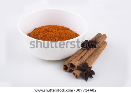 cinnamon and chilly spices - stock photo
