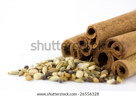 Cinnamon and spices, macro shot, shallow DOF