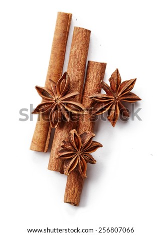 Cinnamon and star anise isolated on white background