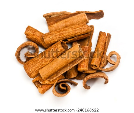 Cinnamon bark spice isolated on white background - stock photo