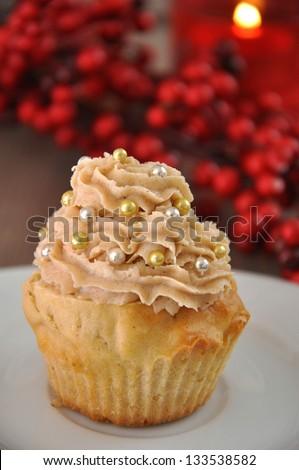 Cinnamon Butter cream Cupcakes for Christmas - stock photo