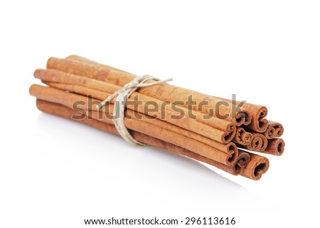 Cinnamon cassia sticks isolated on white background - stock photo