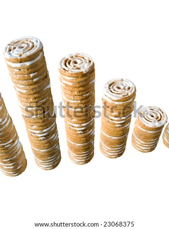 cinnamon cookies stacked like coins isolated on white (illustration of decline) - stock photo