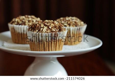 cinnamon granola muffins   - stock photo