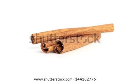cinnamon isolated on white background - stock photo