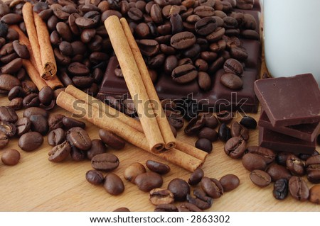 Cinnamon on coffee beans