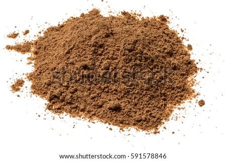 Cinnamon powder iisolated on white background,top view