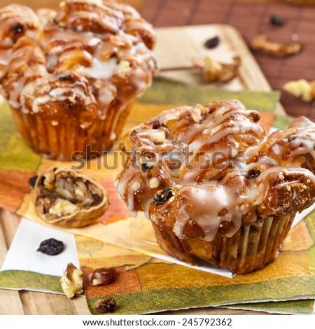 Cinnamon Raisin Muffins - Cobblestone. Selective focus. Shallow DOF - stock photo