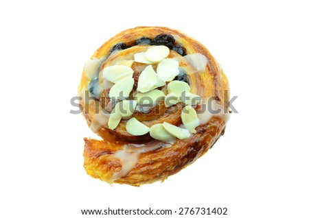Cinnamon raisin roll cake isolated on white background - stock photo