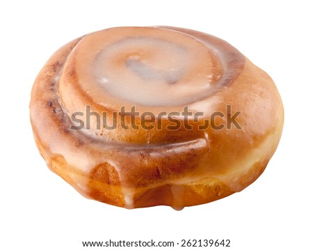 Cinnamon Roll with a clipping path, isolated on white. The image is in full focus, front to back. - stock photo