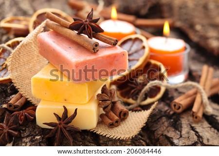 Cinnamon   soap. - stock photo