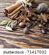 Cinnamon spice Sticks on wooden board close up - stock photo