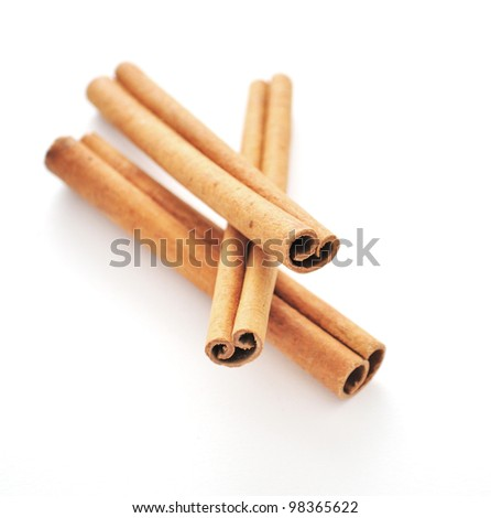 Cinnamon sticks and meal close up