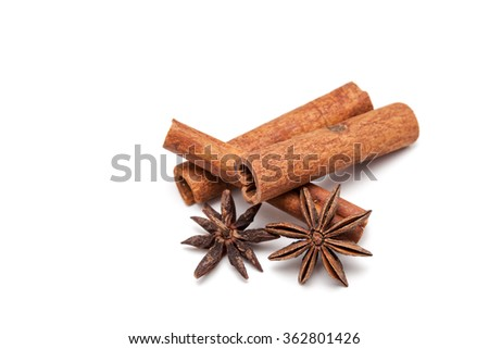 Cinnamon sticks and star anise on white background isolated