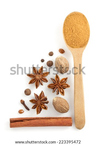 cinnamon sticks, anise star and nutmeg on white background - stock photo