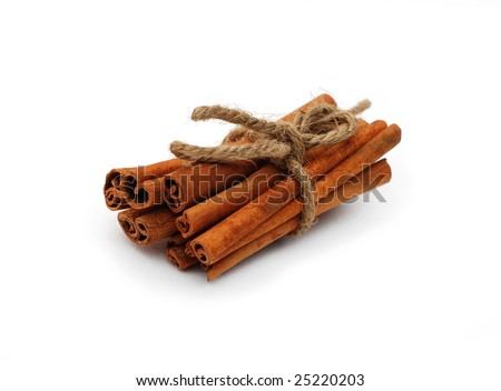 cinnamon sticks isolated - stock photo