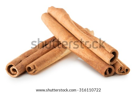 cinnamon sticks isolated on the white background