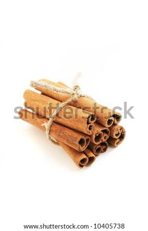 Cinnamon sticks, isolated on white - stock photo