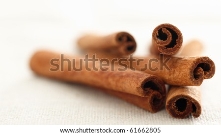cinnamon sticks laying in a pile with selective focus - stock photo
