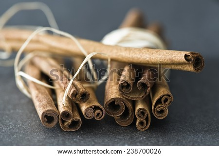 Cinnamon sticks on a grey surface