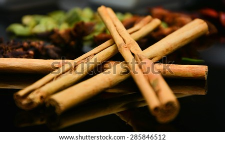 Cinnamon Sticks on top of each other - stock photo