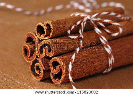 Cinnamon sticks tied with eco-friendly baker's twine on wood background.  Macro with extremely shallow dof.