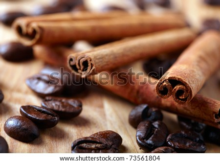 Cinnamon with coffee beans