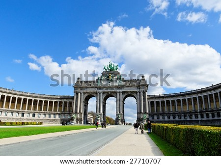 Cinquantennaire Park with The Triumphal Arch in Brussels in spring - stock photo