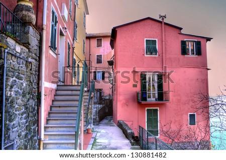 Cinque Terre, Italy - Corniglia  colorful fishermen village (hdr image) - stock photo