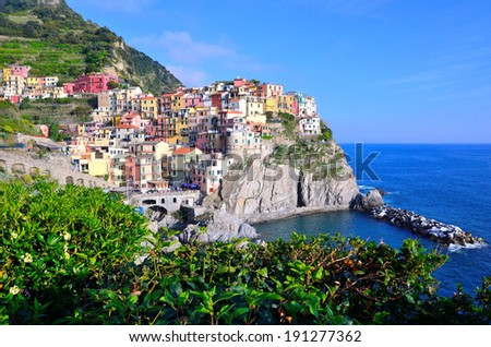 Cinque Terre, Italy - Manarola colorful fishermen village - stock photo