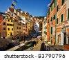 Cinque Terre, Italy. Riomaggiore colorful fishermen village. - stock photo