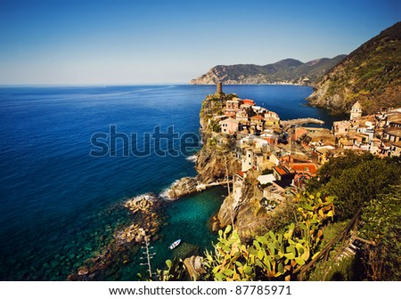 Cinque Terre, Italy. Vernazza fishermen village panoramic, view from the famous hiking trail. - stock photo