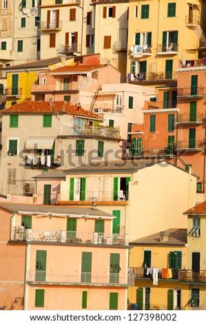 Cinque terre narrow house style in Liguria, Italy - stock photo