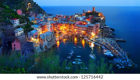 Cinque Terre, Vernazza at the blue hour - stock photo