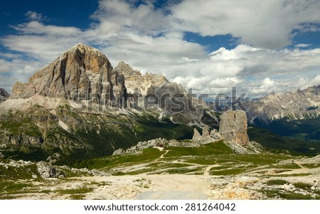 Cinque Torri, rock formation in the Dolomites - stock photo