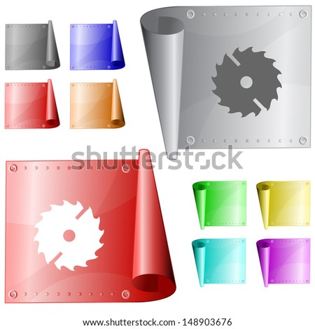 Circ saw. Raster metal surface. - stock photo