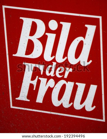 "CIRCA APRIL 2014 - BERLIN: the logo of the brand ""Bild der Frau"", Berlin."