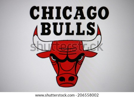 "CIRCA JUNE 2014 - BERLIN: the logo of the US American Basketball club ""Chicago Bulls"". - stock photo"