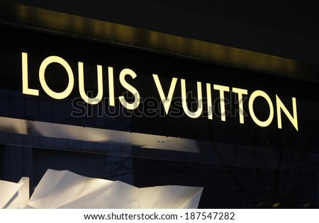 "CIRCA MARCH 2014 - BERLIN: the logo of the brand ""Louis Vuitton"", Berlin. - stock photo"