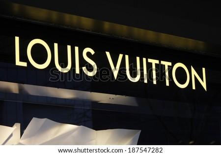 "CIRCA MARCH 2014 - BERLIN: the logo of the brand ""Louis Vuitton"", Berlin."