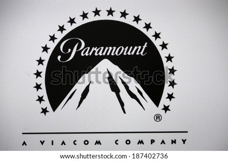 """CIRCA MARCH 2014 - BERLIN: the logo of the brand """"Paramount Pictures"""", Berlin. - stock photo"""