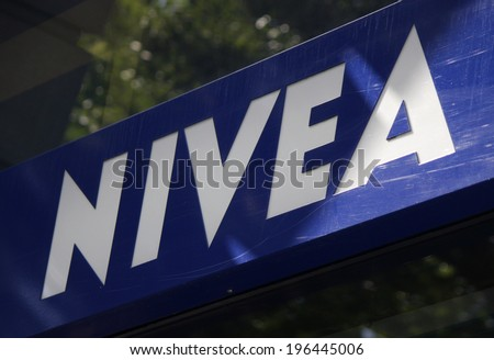 "CIRCA MAY 2014 - BERLIN: the logo of the brand ""Nivea"", Berlin."